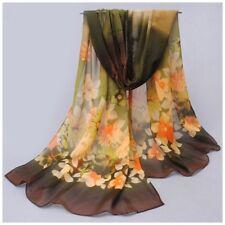 destockage foulard écharpe neuf mousseline de soie fleurs vert marron
