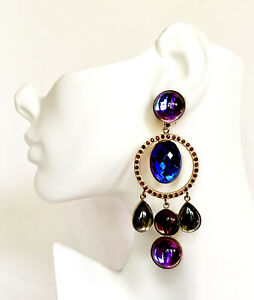 ZOE COSTE FRANCE REMINISCENCE 80's VINTAGE CRYSTAL GLASS CABOCHON XXL EARRINGS