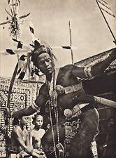 1940 BORNEO SEMI NUDE MALE & FEMALE Tattoo Jewelry Warrior War Dance ~ K.F. WONG