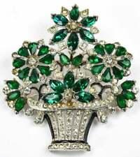 Beautiful Flower Pot Design Amazing Multi Shape Emerald & Bright CZ Fine Brooch