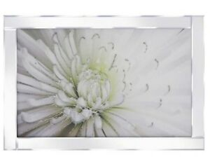 White and green flower glitter picture in mirrored frame, Glitter art picture