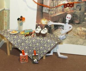 DOLLHOUSE MINIATURE WITCHES TABLE AND TREATS  - OOAK
