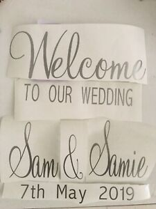 Vinyl transfer stickers for DIY wedding welcome sign mirror seating plan