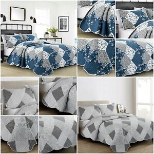 3 Piece Quilted Patchwork Bedspread Floral Printed Comforter Throw Pillow Shams