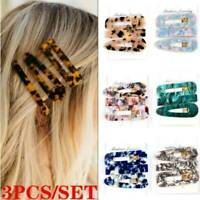 3Pcs Charm Women Geometric Hollow Acrylic Hair Clips Snap Barrette Stick Hairpin