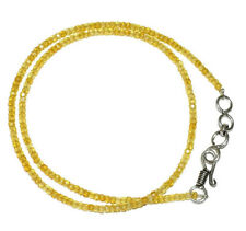 """Yellow Zircon Gemstone 3 mm Rondelle Faceted Beads 20"""" Beads Necklace MJU25-52"""