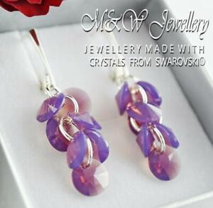 925 Silver Earrings Crystals From Swarovski® XILION RIVOLI - Cyclamen Opal