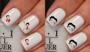 Betty Boop Motard Stickers ongles autocollant manucure nail art water déco