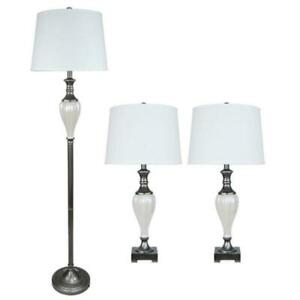 Fangio Lighting  64.5 in. 3-Piece Metal and Ceramic Lamp Set