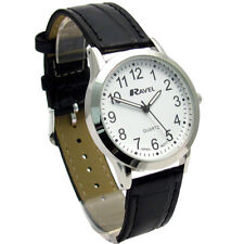 Ravel Mens Super-Clear Easy Read Quartz Watch Black Strap White Face R0130.02.1