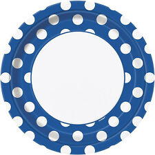 """8 Blue White Polka Dot Spot Style Party Large 9"""" Disposable Paper Plates"""
