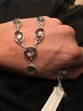 "Prasiolite/ Green Amethyst 35 ct necklace 18"" sterling silver"