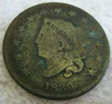 1830 Coronet Head Large Cent, LARGE LETTERS, N-4 VG Details, NGC $45 in Good