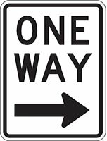 ONE WAY RIGHT ARROW Black & White Aluminum, Metal Sign 8X12