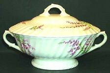 ROYAL DOULTON CHINA BELL HEATHER SCALLOPED ROUND COVERED VEGETABLE BOWL