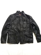 NEW SUPERDRY BLACK LEATHER ROTOR MOTO MOTORCYCLE FIELD JACKET XL 42 US