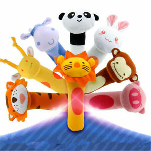 Cute Soft Plush Animal Sound Handbells Squeeze Rattle For Newborn Baby Funny Toy