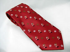 Santa Claus with Sack Necktie Holly Leaves Small Print Red