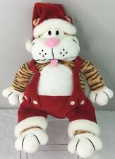 Heartland Plush Orange Tabby Santa Claws Cat Christmas Holiday Zipper Pocket 16""