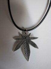 "Pot Leaf Pendant on a Black 17"" to 19"" Necklace-Free Shipping"