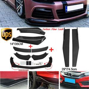 Carbon Fiber Side Skirt+Rear Lip+Front Bumper Spoiler Body Kit For VW Golf MK6