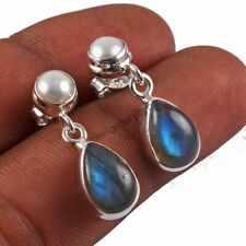 925 Sterling Silver Fine Jewelry Natural Pearl Labradorite Gemstone Earrings G04