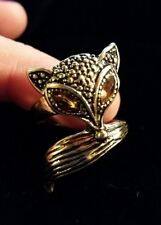 Fox Ring Costume Rhinestone Gem Gold Tone Decorative Statement Size 7.5