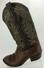 Tony Lama Cowboy Boots Brown Western Exotic Vintage Tumbled Leather Mens US 8 EE
