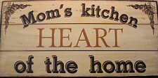 New Mom's Kitchen Heart of the Home Wooden Sign Mother's Day Baking Cooking