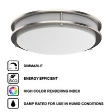 "Led Ceiling Flush Mount Silver Brushed Nickel Ring 12""/14""/16"" Integrated Lights"