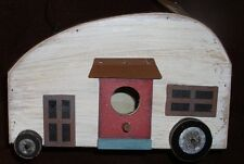 RV Camper Birdhouse Hanging Decoration Outdoor Garden Vintage Look Metal Wood