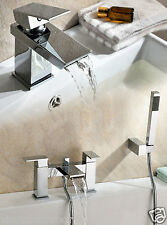 GEMINI WATERFALL BATHROOM TAP BASIN MONO MIXER BATH SHOWER MIXER SET SOLID BRASS