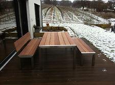 """Gartenmöbel Edelstahl """"Cumaru"""" :Tisch 900x2000 Bank mit Lehne, Bank  180cm lang"""