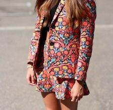 ZARA FLORAL PAISLEY PRINT BLAZER JACKET WITH SHOULDER PADS SIZE SMALL