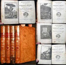 CIRCA 1810 DEFOE ROBINSON CRUSOE 4 VOLS WITH HALF TITLES & FRONTISPIECES LEATHER