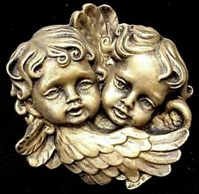 Vintage Twin Cherubs Face Angels Wall Plaque Decor Cupid Eros