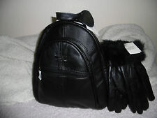 WOMEN'S BACKPACK+GLOVES 2IN 1 LORENZ REAL LEATHER CHRISTMAS GIFT SET  BLACK NEW