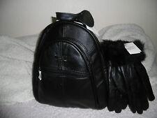 Women's backpack+gloves 2in 1 LORENZ Vera Pelle Set regalo presenti Nero Nuovo