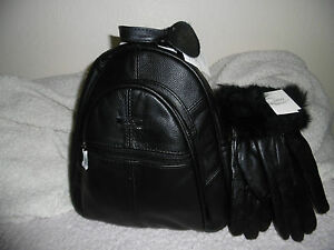 WOMEN'S BACKPACK+GLOVES 2IN 1 LORENZ REAL LEATHER GIFT SET PRESENT BLACK NEW