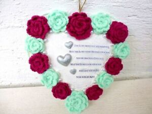 heart with hand crochet roses and blessing wreath spring summer hanging decor