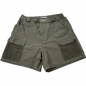 """Columbia Half Moon PFG Shorts Dark Gray XL 0107 FM 8100 Cargo Cotton Elastic 6"""""""