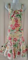 Womens Per Una Pink Green Floral Strappy Applique Kick Pleat Flippy Midi Dress 8