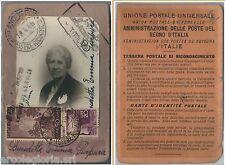 60966 - vintage document DOCUMENTO D'EPOCA: TESSERA POSTALE RICONOSCIMENTO 1948