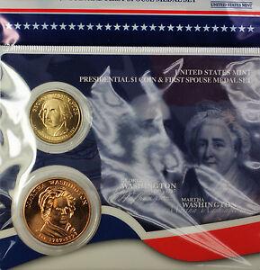 2007 George Washington $1 and Martha Coin Spouse Medal Set BU Mint Sealed