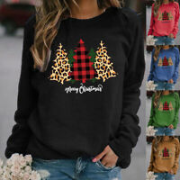 Women Christmas Long Sleeve Crew Neck T Shirt Casual Print Blouse Loose Fit Tops