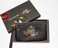 💚 COACH x Wizard of Oz Leather Wristlet Wallet Purse Black Bag NWT New in Box