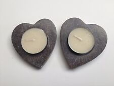 Pack of 2 Heart Tealight Candles in Heavy Resin Holders 7cm
