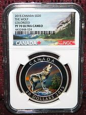 2015 CANADA $20 HOWLING WOLF COLORED SILVER COIN W/BOX-COA NGC PF 70 ULTRA CAMEO