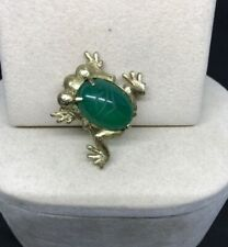 Vtg. C.R. Co. Sterling Silver Jelly Belly Frog Green Glass Scarab Brooch Pin