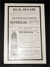 1904 OLD MAGAZINE PRINT AD, GLINE LIQUID RUBBER AUTOMOBILE NEVERLEAK TIRE FLUID!